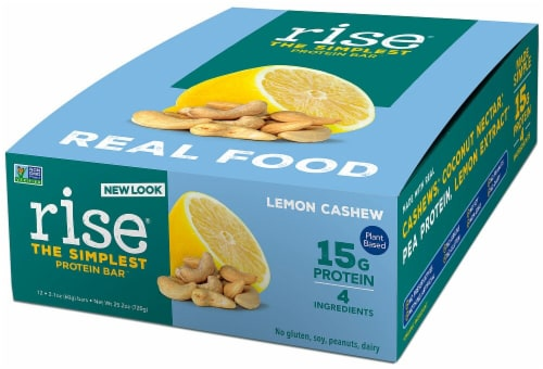 Rise Foods  Plant Protein 15G Bar Gluten Free   Lemon Cashew Perspective: front