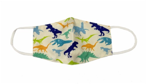 ORLY Youth Boys' Adjustable Safety & Protection Fabric Mask - Dinosaur Perspective: front