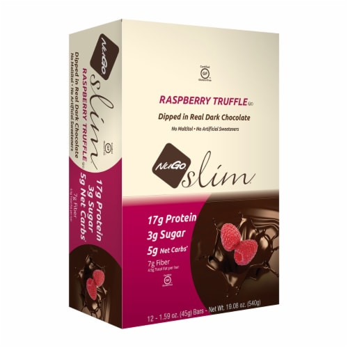 NuGo Nutrition Gluten Free Raspberry Truffle Slim Bars Perspective: front