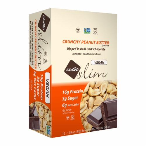 NuGo Slim Crunchy Peanut Butter Protein Bars Perspective: front
