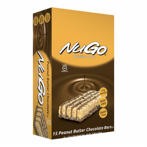 NuGo Nutrition To Go Bars Peanut Butter Chocolate Perspective: front