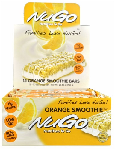 NuGo Nutrition  To Go Bars   Orange Smoothie Perspective: front