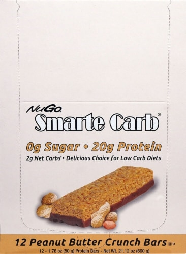 NuGo Nutrition  Smarte Carb® Sugar Free Protein Bars   Peanut Butter Crunch Perspective: front