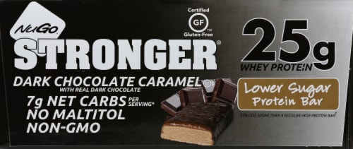 NuGo Stronger Dark Chocolate with Caramel Protein Bars Perspective: front