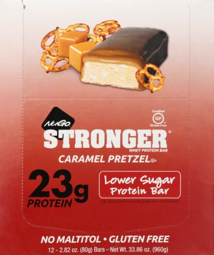NuGo Stronger Caramel Pretzel Protein Bars Perspective: front