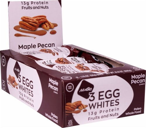 NuGo Nutrition Egg White Fruit and Nut  Maple Pecan Flavor Protein Bars 12 Count Perspective: front
