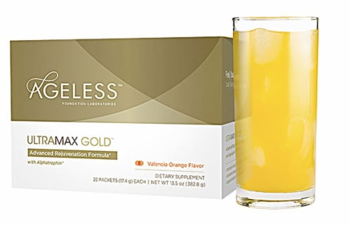 Ageless Foundation UltraMAX Gold™ Valencia Orange Effervescent Powder Drink Packets Perspective: front