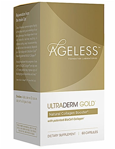 Ageless Foundation  UltraDERM Gold™ Collagen Booster Capsules Perspective: front