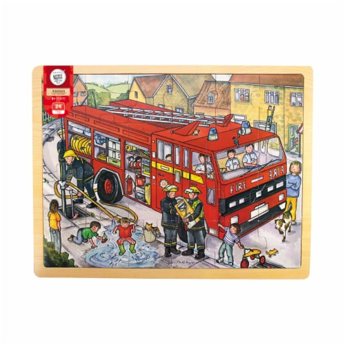 Bigjigs Toys Wooden Fire Engine Tray Puzzle Perspective: front