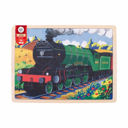 Bigjigs Toys Wooden Flying Scotsman Train Tray Puzzle Perspective: front