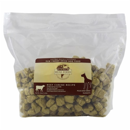 Steves Real Food 84516401 1.2 lbs Beef Freeze Dried Nuggets for Dog Perspective: front