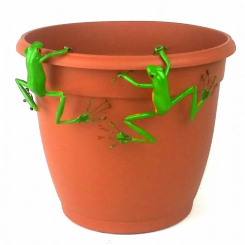 Land & Sea LS1218WF Red Eyed Tree Frog Thin Pot Sitter Hanger, Green - Set of 2 Perspective: front