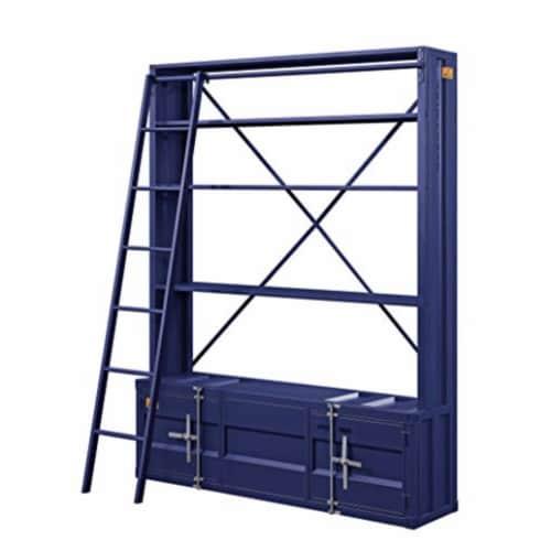 Ergode Bookshelf & Ladder Blue Perspective: front