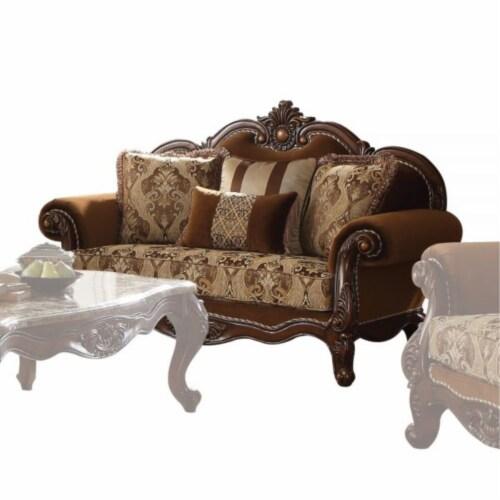 Ergode Loveseat (w/4 Pillows) Fabric & Cherry Oak Perspective: front