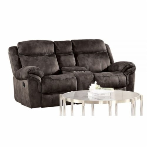 Ergode Loveseat w/USB Dock & Console (Glider & Motion) 2-Tone Chocolate Velvet Perspective: front