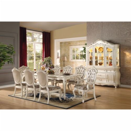 Ergode Dining Table Marble & Pearl White Perspective: front
