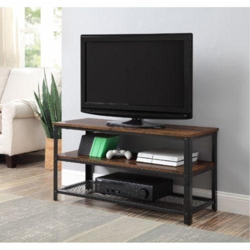Ergode TV Stand Rustic Oak & Black Finish Perspective: front