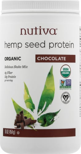 Nutiva Chocolate Hemp Protein Shake Mix Perspective: front