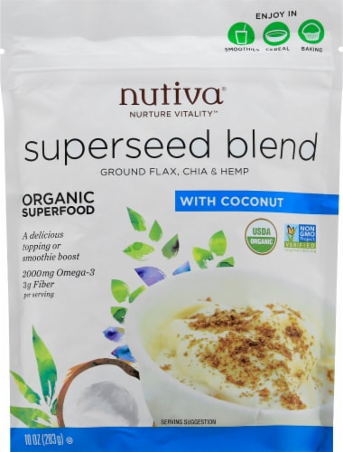 Nutiva Organic Superseed Blend Ground Flax Chia & Hemp with Coconut Perspective: front