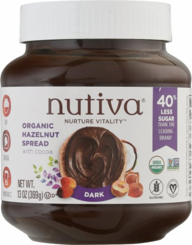 Nutiva  Organic Hazelnut with Cocoa Spread Gluten Free   Dark Perspective: front