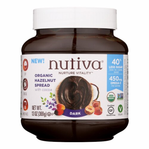 Nutiva Organic Hazelnut Spreads - Dark - Case of 6 - 13 oz. Perspective: front