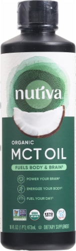Nutiva Organic Unflavored MCT Oil from Coconut Perspective: front
