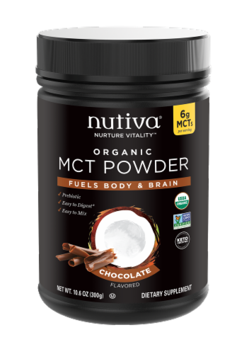 Nutiva MCT Powder with Prebiotic Acacia Fiber Chocolate Dietary Supplement Perspective: front
