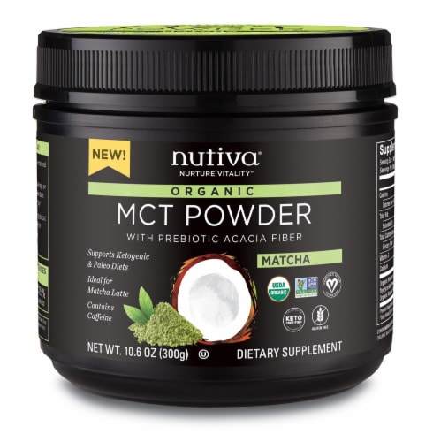 Nutiva Organic Matcha MCT Powder with Prebiotic ACACIA Fiber Dietary Supplement Perspective: front