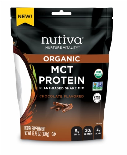 Nutiva Organic MCT Plant Based Chocolate Protein Shake Mix Perspective: front