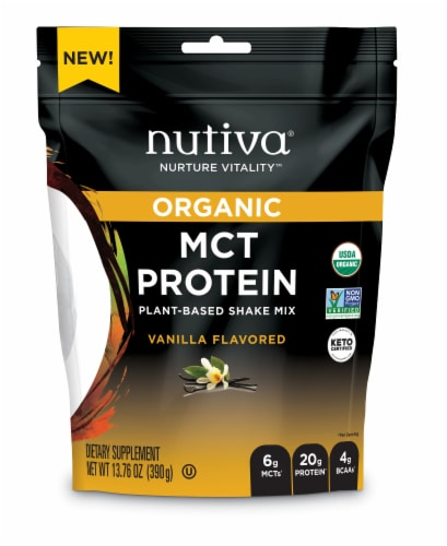 Nutiva MCT Plant Based Vanilla Protein Shake Mix Perspective: front