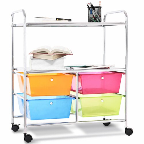Costway 4 Multifunctional Drawers Rolling Storage Cart Rack Shelves Shelf Home Office Perspective: front