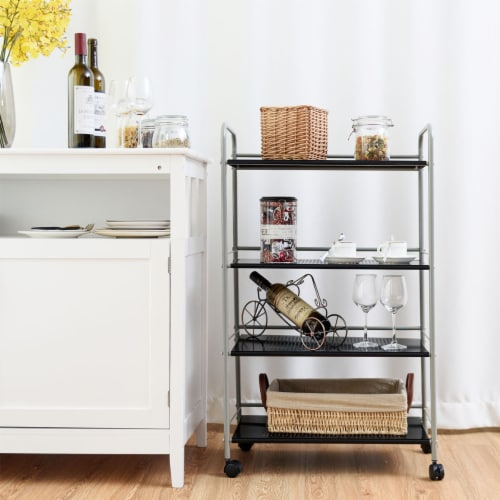 Costway 4 Tiers Rolling Storage Cart Utility Trolley Organizer Kitchen Multifunction Perspective: front