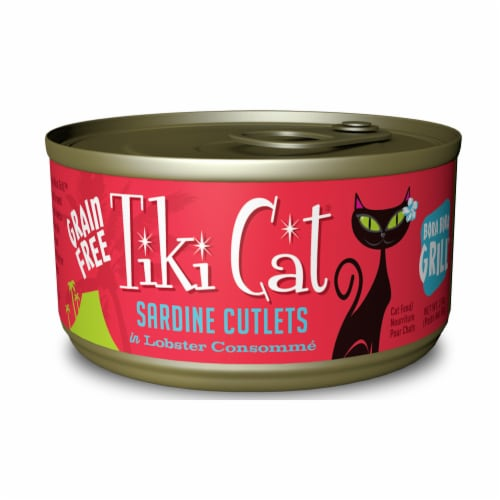 Tiki Pets TK10228 Bora Bora Luau Grain-Free Sardine Cutlets in Lobster Wet Cat Food Perspective: front