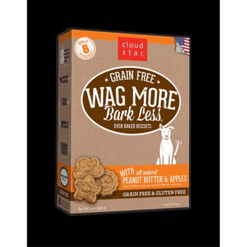 Wagmore 25072907 7 oz Grain Free Mini Baked Peanut Butter & Apple Dog Food Perspective: front