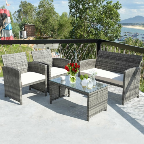 Costway 4 Pc Rattan Patio Furniture Set Garden Lawn Sofa Cushioned Seat Mix Gray Wicker Perspective: front