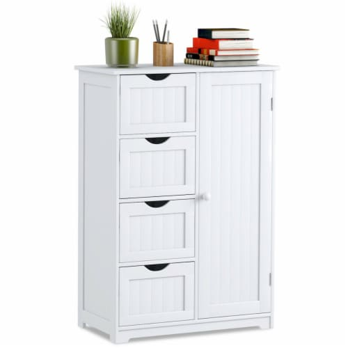 Costway Wooden 4 Drawer Bathroom Cabinet Storage Cupboard 2 Shelves Free Standing White Perspective: front
