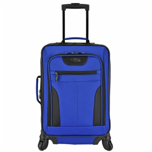 U.S. Traveler Softside Spinner Luggage - Blue Perspective: front