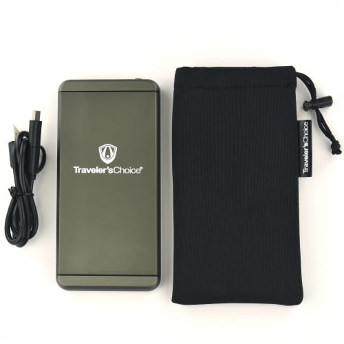 Traveler's Choice Portable Metal Powerbank Charger with Carrying Case Perspective: front