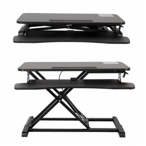 Happy Living Sit To Stand Desk Workstation - Black Perspective: front
