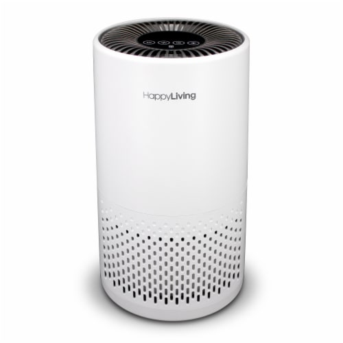 Happy Living True HEPA 360-Degree 4-Stage Filtration Air Purifier - White Perspective: front