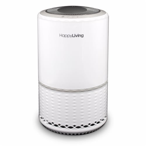 Happy Living HEPA 360-Degree 3-Stage Filtration Air Purifier - White Perspective: front