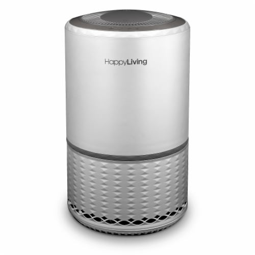 Happy Living HEPA 360-Degree 3-Stage Filtration Air Purifier - Silver Perspective: front