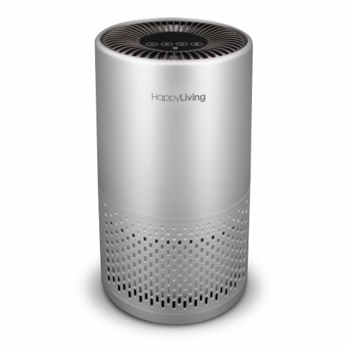Happy Living HEPA 360-Degree 4-Stage Filtration Air Purifier - Silver Perspective: front