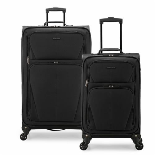 U.S. Traveler Esther Expandable Spinner Luggage Set - Black Perspective: front