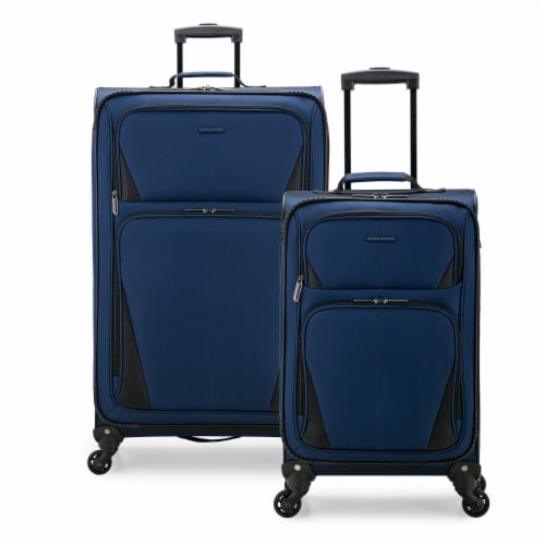 U.S. Traveler Esther 2-Piece Expandable Spinner Luggage Set - Navy Perspective: front