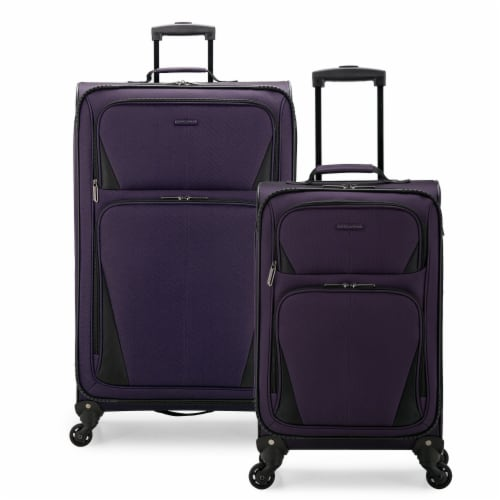 U.S. Traveler Esther Expandable Spinner Luggage Set - Purple Perspective: front