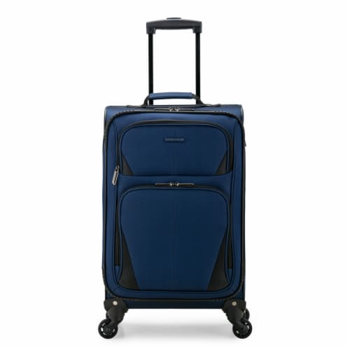 U.S. Traveler Esther Carry-On Expandable Spinner Luggage - Navy Perspective: front