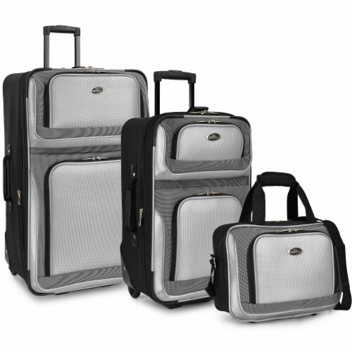 Traveler's Choice New Yorker Rolling Luggage Set - Silver Gray Perspective: front