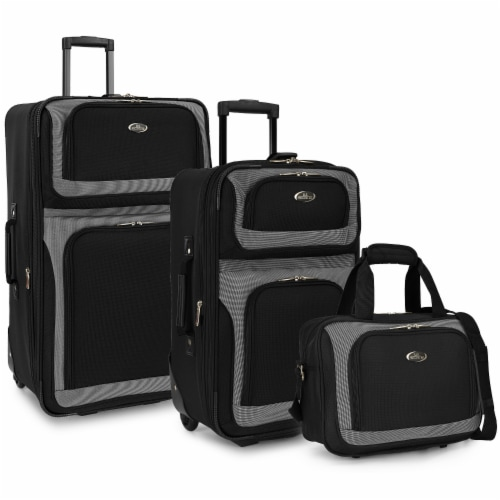 Traveler's Choice New Yorker Rolling Luggage Set - Black Perspective: front