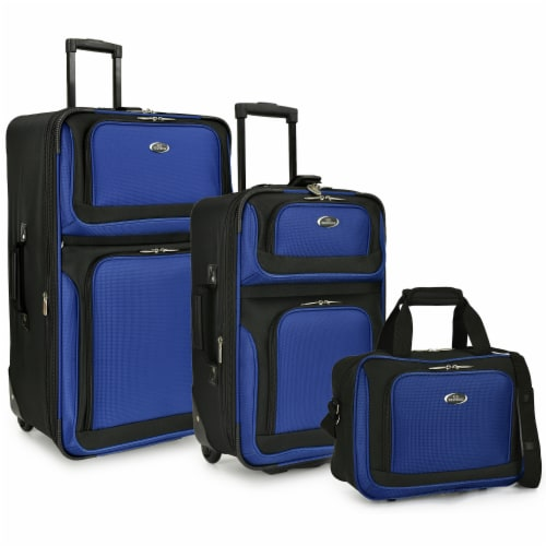 Traveler's Choice New Yorker Rolling Luggage Set - Blue Perspective: front